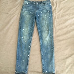 Star Embroidered High Waisted Jeans